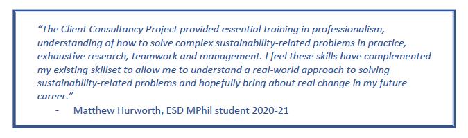 Quote regarding the CCP by Matthew Hurworth, ESD MPhil student 2020-21