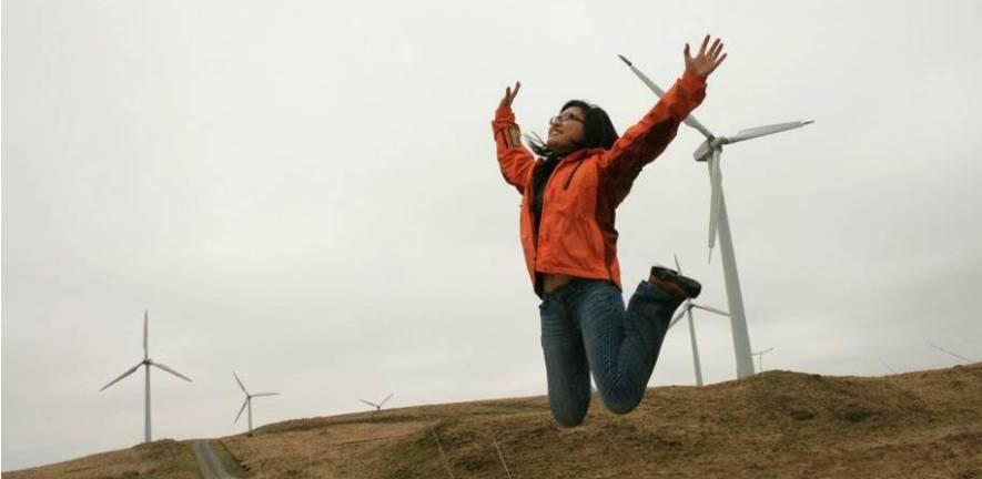 Carousel - Student on wind farm trip